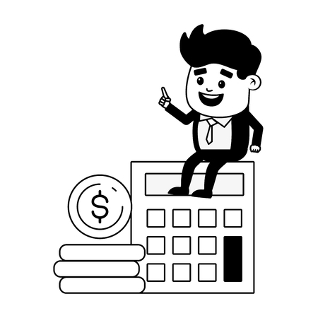 businessman calculator money online banking vector illustration Stok Fotoğraf - 123058194