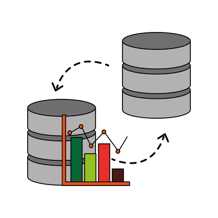 data center disks with statistical graphical isolated icon vector illustration design