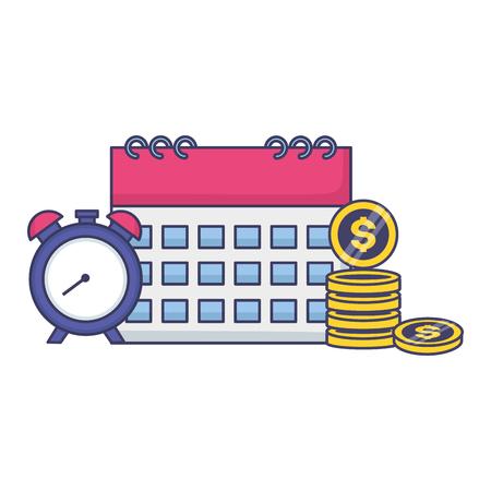Calendrier horloge temps argent impôt paiement illustration vectorielle Vecteurs