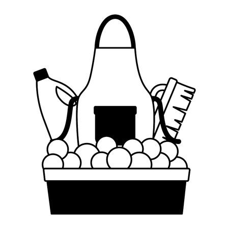 washing bucket apron brush bottle spring cleaning tools vector illustration Ilustrace