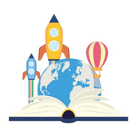 open textbook flying rocket - world book day vector illustration vector illustration 일러스트