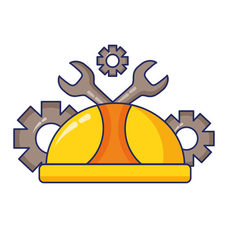 hardhat wrench and gears labour day vector illustration  イラスト・ベクター素材