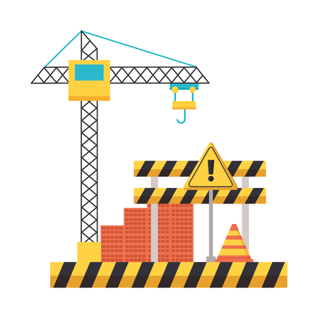 crane barrier wall bricks tool construction equipment vector illustration Standard-Bild - 123058237
