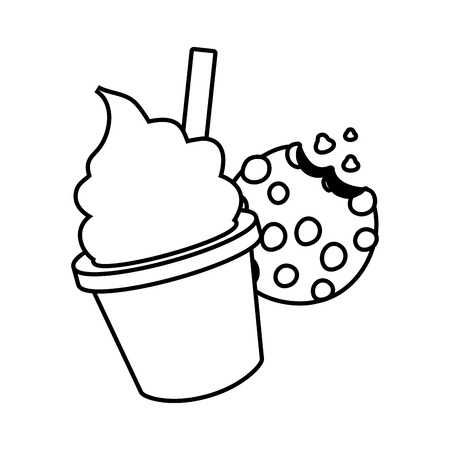 ice cream cookie fast food white background vector illustration