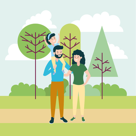 family dad mom and daughter outdoors vector illustration 版權商用圖片 - 123058261