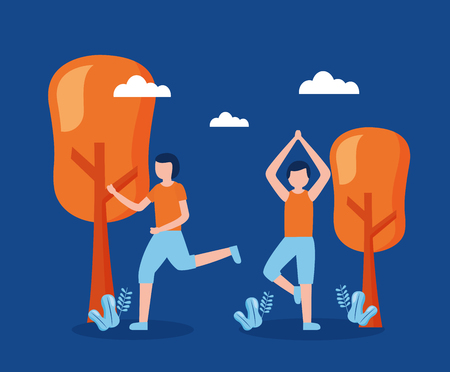 men practicing exercise world health day vector illustration Illustration