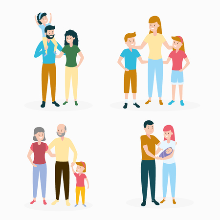 people characters family day set vector illustration design 版權商用圖片 - 123058277
