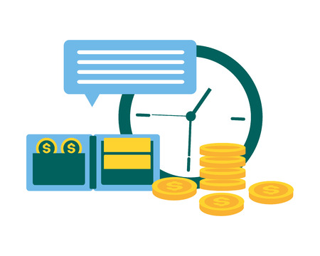 clock wallet money message tax time payment vector illustration