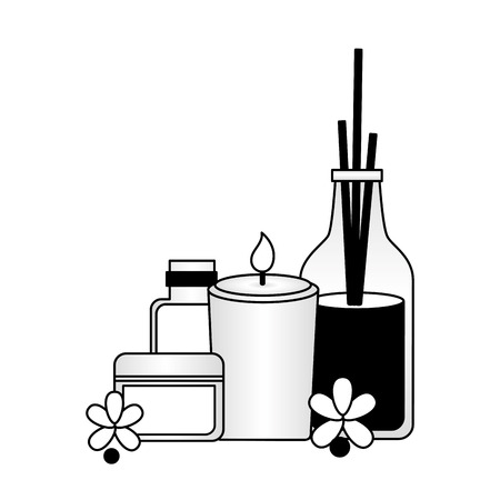 cosmetics skin care candle flowers spa treatment vector illustration Illustration