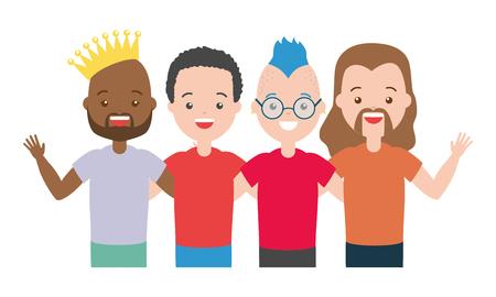 group men lgbt pride vector illustration design