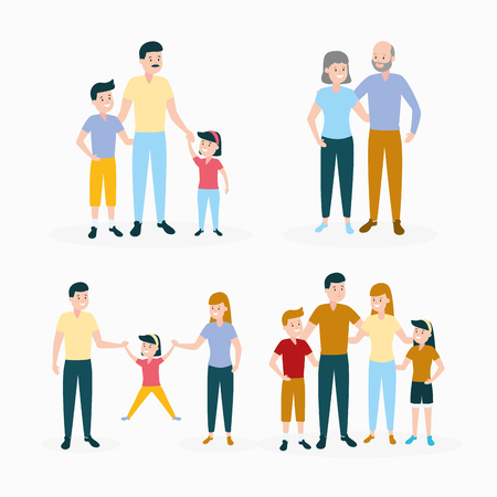 people characters family day set vector illustration design 版權商用圖片 - 123058317