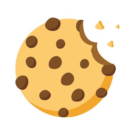 sweet cookie dessert bite vector illustration design