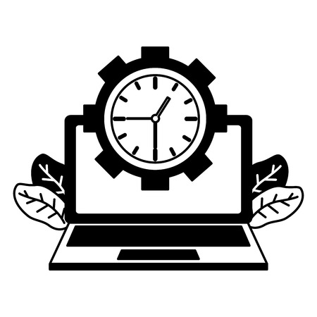 laptop computer clock time work vector illustration