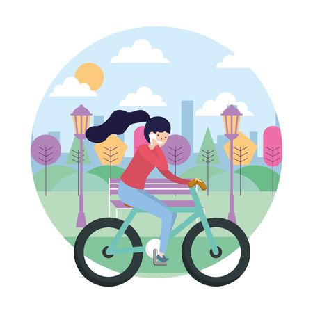 woman riding bike using mobile in the park vector illustration