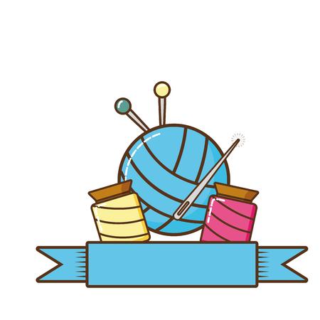 Materialien zum Nähen isolierter Symbolvektor-Illustrationsdesign
