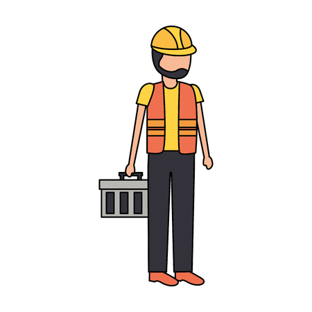 construction worker with toolkit on white background vector illustration Ilustrace