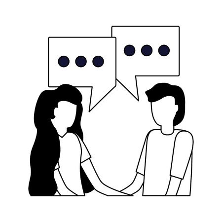 man and woman talk bubbles conversation vector illustration