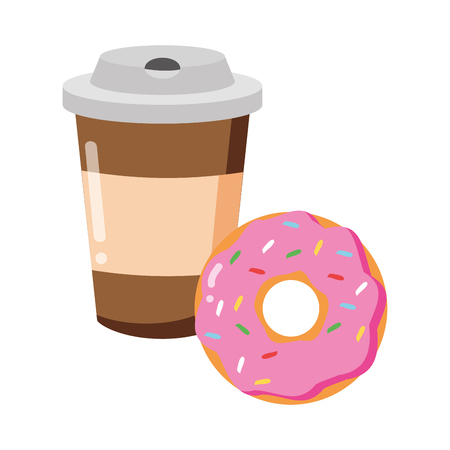 coffee cup and donut fast food white background vector illustration Illustration