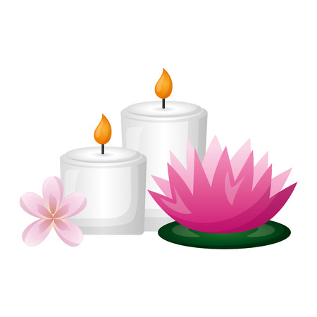 Bougies fleurs de lotus thérapie traitement spa vector illustration Vecteurs