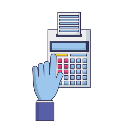 hand with calculator printed receipt tax payment vector illustration Stock Vector - 123058394