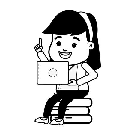 business woman laptop money online banking vector illustration Illusztráció
