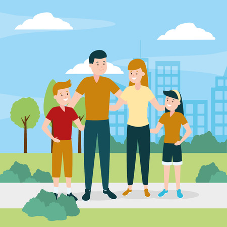 parents with son and daughter vector illustration