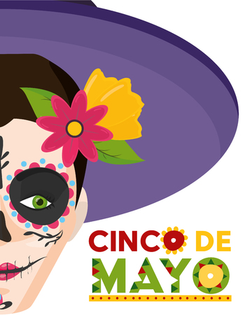 catrina with hat mexico cinco de mayo vector illustration