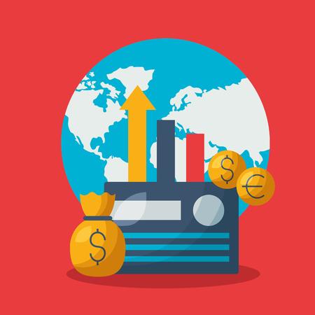 world money bag bank card chart financial stock market vector illustration Foto de archivo - 122995948