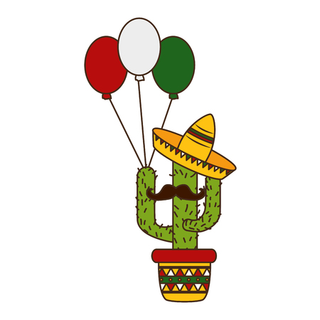 cactus with mustache hat balloons cinco de mayo vector illustration