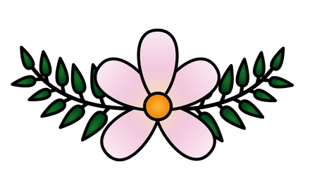 frangipani flower leaves decoration on white background vector illustration Иллюстрация