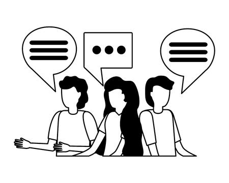 Gruppe Menschen Sprechblase auf weißem Hintergrund Vektor-Illustration Vektorgrafik