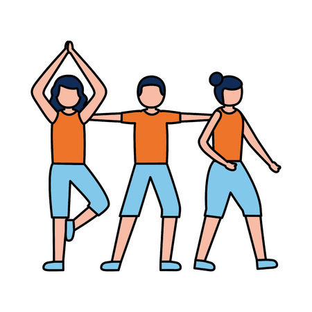 group women practicing exercises activity vector illustration