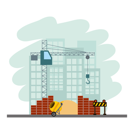 building construction concrete mixer barrier bricks tools vector illustration