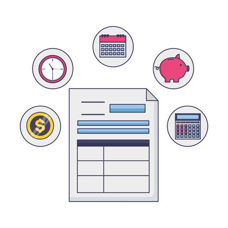 tax payment document piggy bank clock calculator money vector illustration