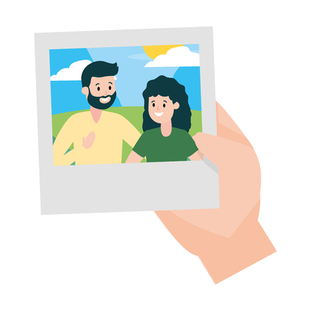 hand with photo smiling couple vector illustration design