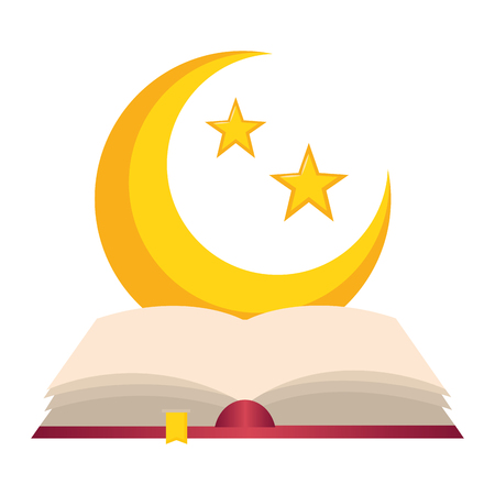holy quran half moon ramadan kareem vector illustration design