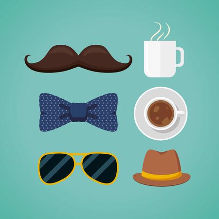父亲节快乐太阳镜,咖啡杯矢量插画