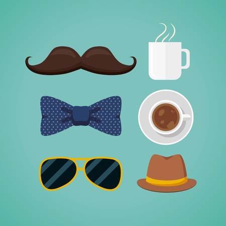happy fathers day set bowtie sunglasses coffee cup vector illustration