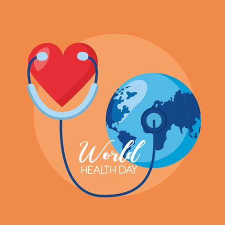 heart stethoscope world health day vector illustration Illustration