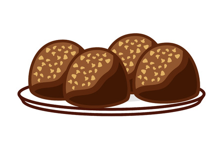 candies chocolate sweet on dish vector illustration 矢量图像