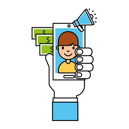 hand with mobile people money advertising business vector illustration  イラスト・ベクター素材