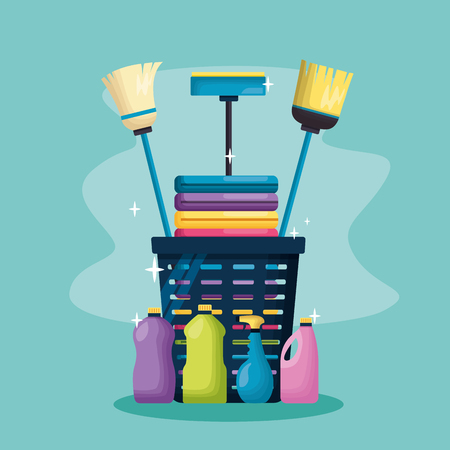 laundry broom mop basket products spring cleaning tools vector illustration