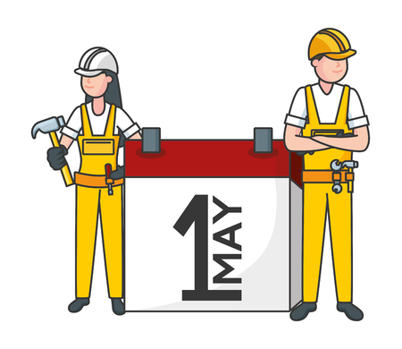 happy labour day man woman worker calendar vector illustration