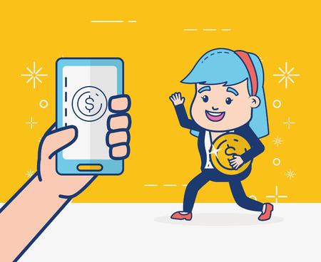 business woman coin money online banking vector illustration Stok Fotoğraf - 122996118