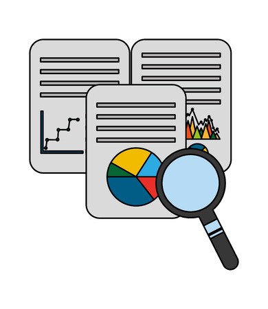 document with statistics graphic and magnifying glass vector illustration design