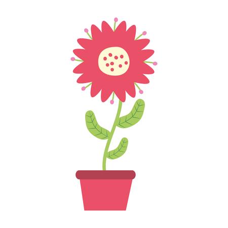 potted flower decoration on white background vector illustration