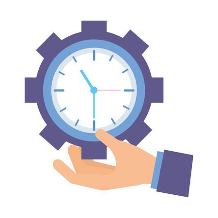 hand holding clock gear white background vector illustration 向量圖像