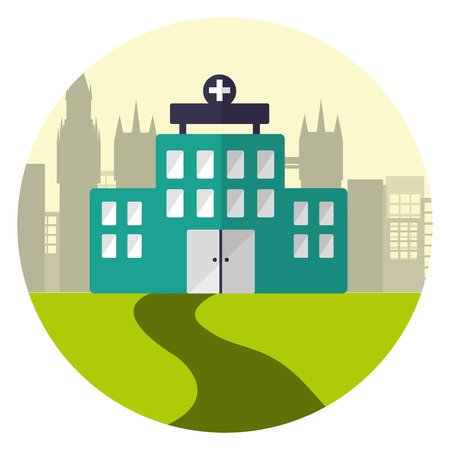 hospital building medical care city vector illustration Standard-Bild - 122996175