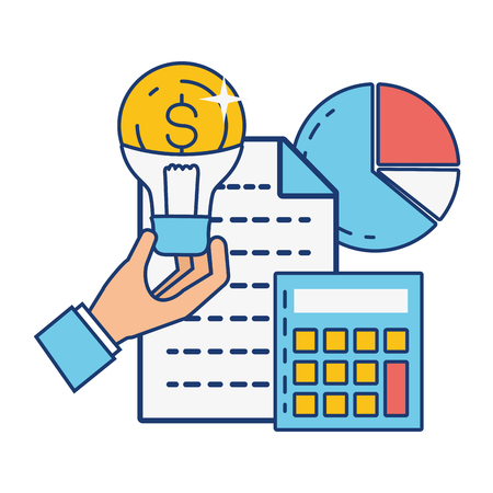 hand with bulb money calculator online payment vector illustration Stockfoto - 122996180