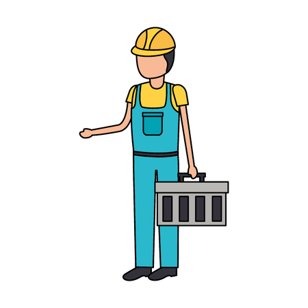 construction worker with toolkit on white background vector illustration Ilustração